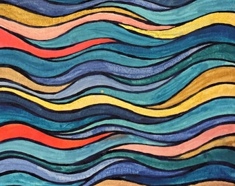 Swirly Blue & Coral Watercolor