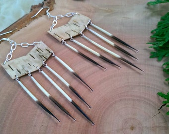 Quillessence Earrings, Porcupine Quill & Birch Bark Earrings, Anishinaabe Made, Indigenous Designs by One Earth Exchange