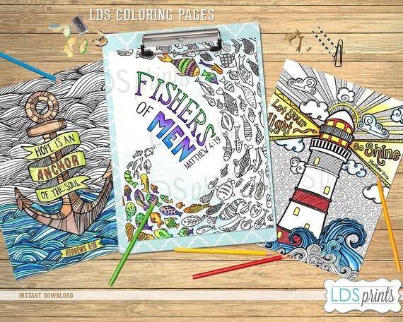 LDSCBSET03 LDS Adult Coloring Pages Ocean set LDS printable