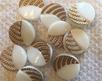 "Vintage Molded Stripes White Glass Button, Gold Luster,  Size Small 3/4"", Back mark Le Chic"