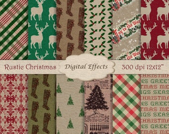 CHRISTMAS Digital Paper, Rustic Christmas Texture Paper, Kraft Digital Paper Pack,Christmas Scrapbook Paper,Red Green Tan Digital Paper Pack