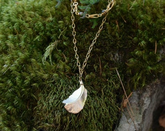 Golden Feather Charm Necklace