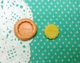 Round biscuit cookie mould written