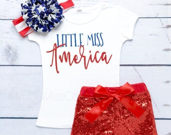 Little Miss America, Baby Girl' 4th of july Outfit, Baby Girl ONESIE ONLY Bodysuit 4th of July, Baby Girl' clothes, Holiday outfit, July 4th