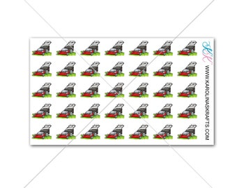 Itty Bitty LAWN MOWER Stickers! Itty Bitty Planner Stickers, Cleaning Stickers, Sew Much Crafting Stickers, Personal Planner #SQ00599
