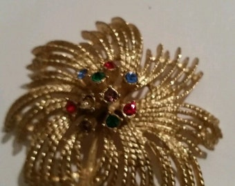 Vintage Flower Brooch Sarah Coventry Gold Colorful Rhinestone Costume Jewelry