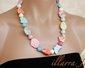Howlite Gemstone Necklace with Multi Color Dyed Howlite Beads - OOAK