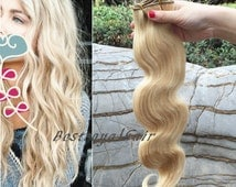 14 Inches Light Ash Blonde Color Indian Remy Clips in Hair Extensions RHS310