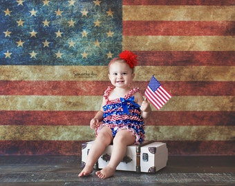 6ftx4ft Vintage American Flag Vinyl Photography Backdrop- 4th of July, Memorial Day, Patriotic Backdrops