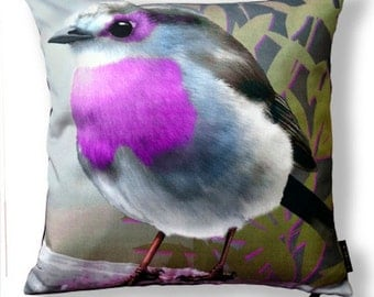 Bird pillow PURPLETHROAT cotton cushion cover