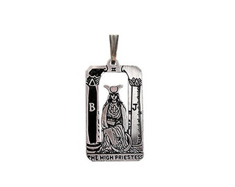 II High Priestess Tarot Pendant in Sterling Silver