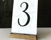 Set of 10, Table number holder, wood sign holder, menu holder, wood table number, wood card holder