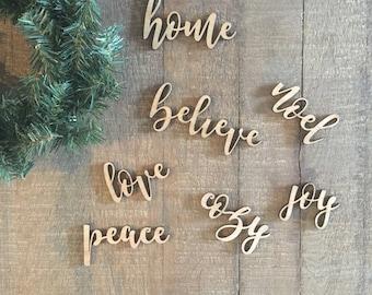 Wood ornaments, christmas words, holiday words, farmhouse christmas
