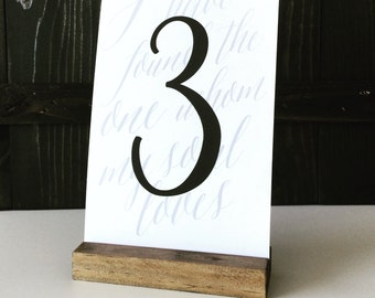 Table number holder, wood sign holder, menu holder, wood table number, wood card holder