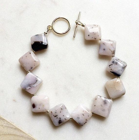 Peruvian Pink Opal bracelet, boho-modern chic bracelet, geometric bracelet,