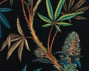 Cannabis Sativa Black Heavy Oxford Home Deco cotton fabric by Alexander Henry