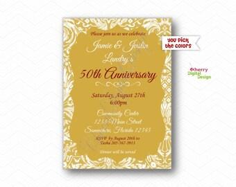 50th anniversary invitations etsy