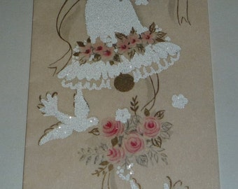 Vintage Wedding Card - Best Wishes to Both of You Bell and Doves