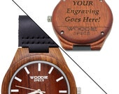 On Sale - Rosewood watch featuring a black leather band. FREE custom engraving!