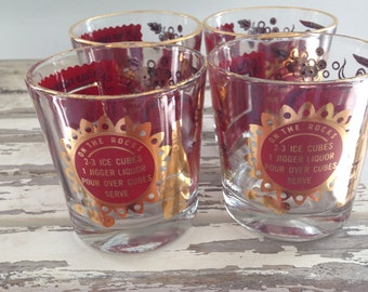 Vintage Red and Gold Jennette Old Fashioned or Rocks Glasses with 3 Recipes - Whiskey Sour , Old Fashioned , On the Rocks