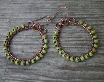 Chartreuse and Copper Hoop Earrings,  Green Picasso Glass Beaded Earrings, Copper Earrings