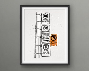 NEON Parking Hell 8x10 Screen Print  // Love/Hate Montreal