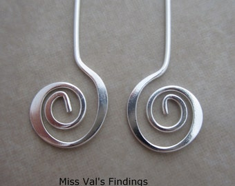24 silver plated headpins with swirl
