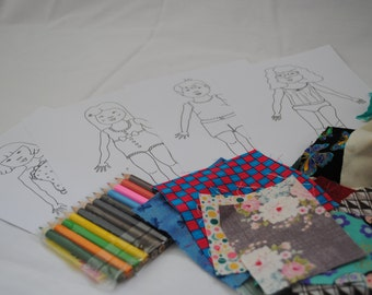 Scrappy fabric fashion doll colouring in pages (UK based)