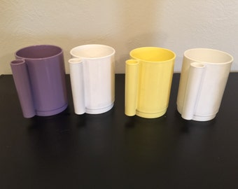 Vintage Plastic Mugs / Cups by Ingrid/ Replacement cups -- Set of 4