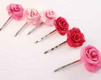 Wedding roses hair pin: Bridal roses pin set - Bridal hair pins - Roses hair pin set - Bobby pins - Romantic hair pins - Flower wedding pins