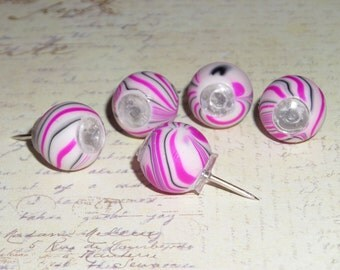 Big hole bead Push Pins, Thumb Tacks, party favors - fuschia pink