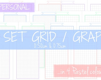 Filofax Personal - Set of GRID/GRAPH Inserts in 4 different colours - 0.50cm & 0.75cm - Instant Download