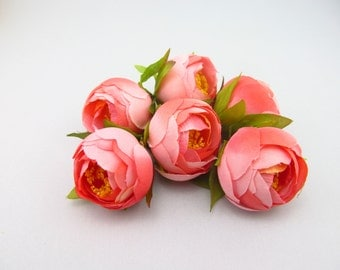 Mini Buds Peachy Pink /  Flower Head / Millinery Supply / Artificial flower / Mini flower Bud