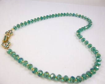Green Necklace, Crystal Necklace, Green Crystal Necklace