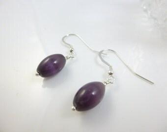 Purple Earrings, Drop Earrings,  Sterling Silver Dangle Earrings, Cats eye Jewelry, Cats Eye Earrings