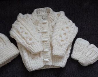 Handknitted Baby Aron cardigan/Jacket Set