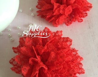 Red fabric Flower applique,fabric flowers,baby headband flower,brooch flower,sewing flower,hair bows,gift wrapping,headbands,51