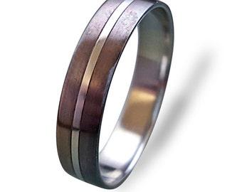 Titanium women's ring with bronze, Titanium Wedding band