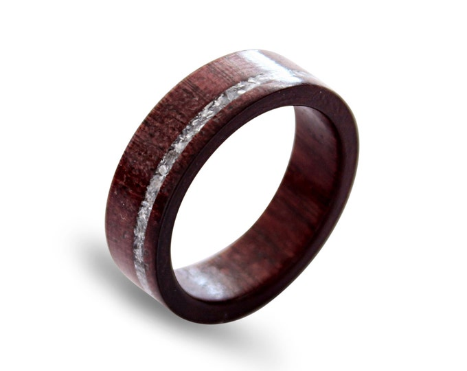 Wood men ring amaranth wood ring with crushed shell inlay