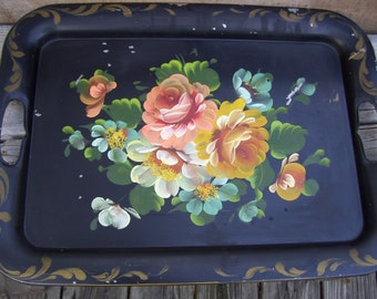 Vintage Black Metal Tole Painted Tray Tole Handles