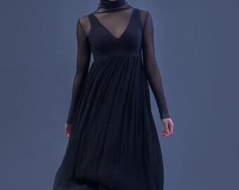 Beautiful Sheer Delicate Black Stretch mesh Dress