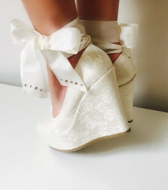 Wedding Shoes Bridal Wedge ShoesBridal Ivory Lace Wedges