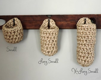 Hanging Hook Storage Basket, Rustic Storage, Natural Basket, 3 Sizes, Long Baskets, Office Organizer, Studio Storage, Craft Storage, Jute