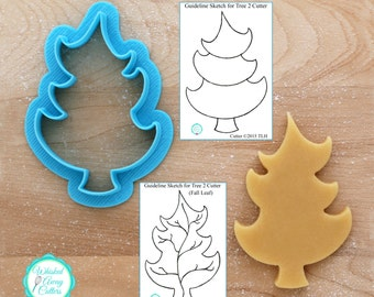 Christmas Tree & Woodlands Tree 2 and Fall Leaf Cookie Cutter Designed By Whisked Away Cutters - **Guideline Sketches to Print Below**
