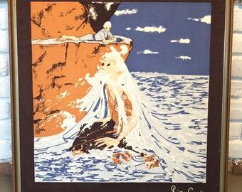 Vintage Pierre Cardin Framed Scarf-Old Man in the Sea?