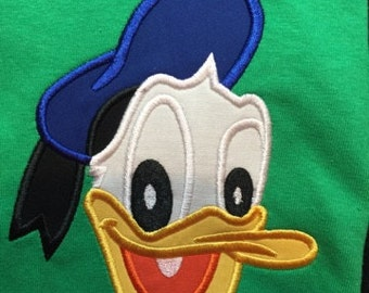 Donald Duck Inspired Shirt! Machine Embroidered Appliqued! Personalization available!