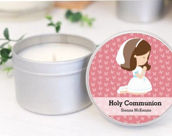 Personalised First Communion favours / bomboniere. Soy candle tins by Mahina