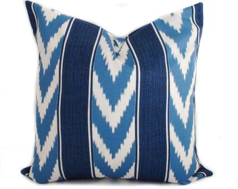 Outdoor cushions, Patio cushions, Blue outdoor pillows, Outdoor pillow covers, Outdoor throw pillow, Chevron pillow, 4 sizes available