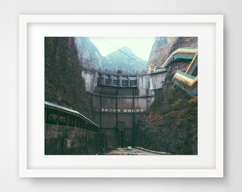 Printable Art, Instant Digital Download, Wall Decor, Wall Art, Photography, Nature Photography, Mountain, l, China, Abandoned Dam