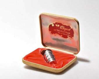 Elgeet 38mm f/1.8 Navitar Lens In Gold And Velvet Presentation Case, Functional But Damaged, For Repair Or Display